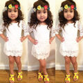 Baby Girl Kids Princess 3/4 Sleeve Hollow Out Flower Lace Dress Party Tutu Dress