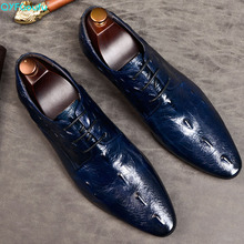 QYFCIOUFU New mens formal shoes genuine leather Wedding Office Handmade Luxury Brand crocodile pointed toe men dress