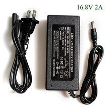 16.8 v 2a carregador de bateria de lítio para 4 séries 14.4 v 14.8 v bateria de polímero de lítio com luz led mostra + cabo de alimentação ca