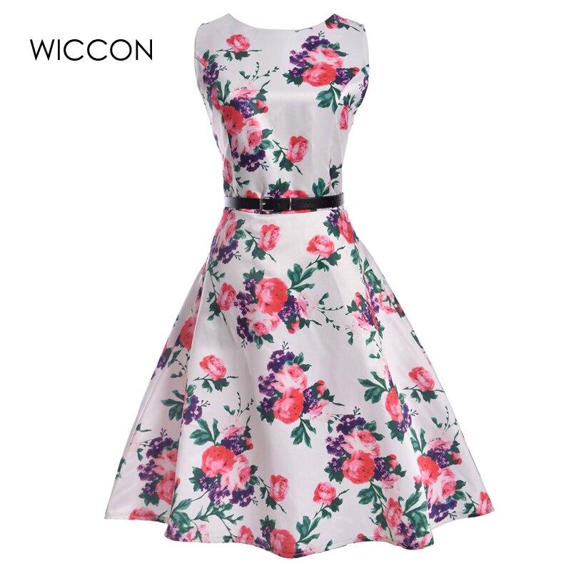 new high waist retro summer dress woman sleeveless print tank sleeve defined waist slim a-line large hemline knee length dresses