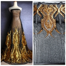 La Belleza 1 yard  Gold black Sequins embroidery fabric stage performances 51 inches width