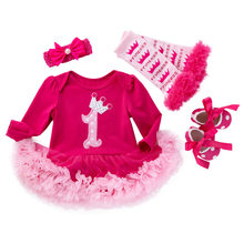 Baby Rompers Christmas Costumes 4pcs Infant Toddler Baby Girl Rompers Christmas Outfits Newborn Infant Party Dress Jumpsuit(China)