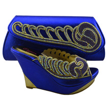 New arrival royal blue low heel ladies shoes and bag set/Italian shoes and bags to match women KK1-37