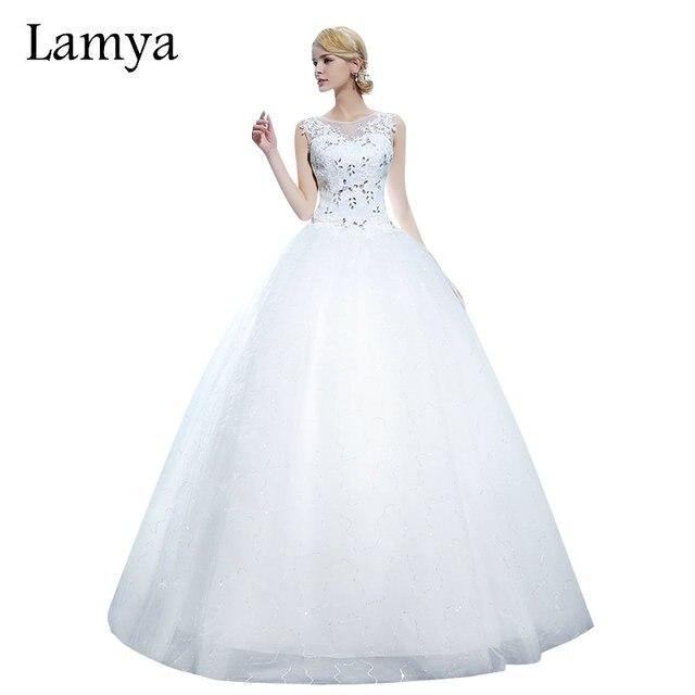 LAMYA Desconto Princesa Mais Suze Vintage Renda Vestidos de Casamento 2019 Querida vestido de Baile robe de mariage vestido de Noiva
