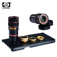 Apexel 4 в 1 8x Телефото Зум Телефон Объектив Для Samsung Galaxy примечание 5 Рыбий Глаз Объектив + Широкоугольный & Макро Объектив Камеры комплект