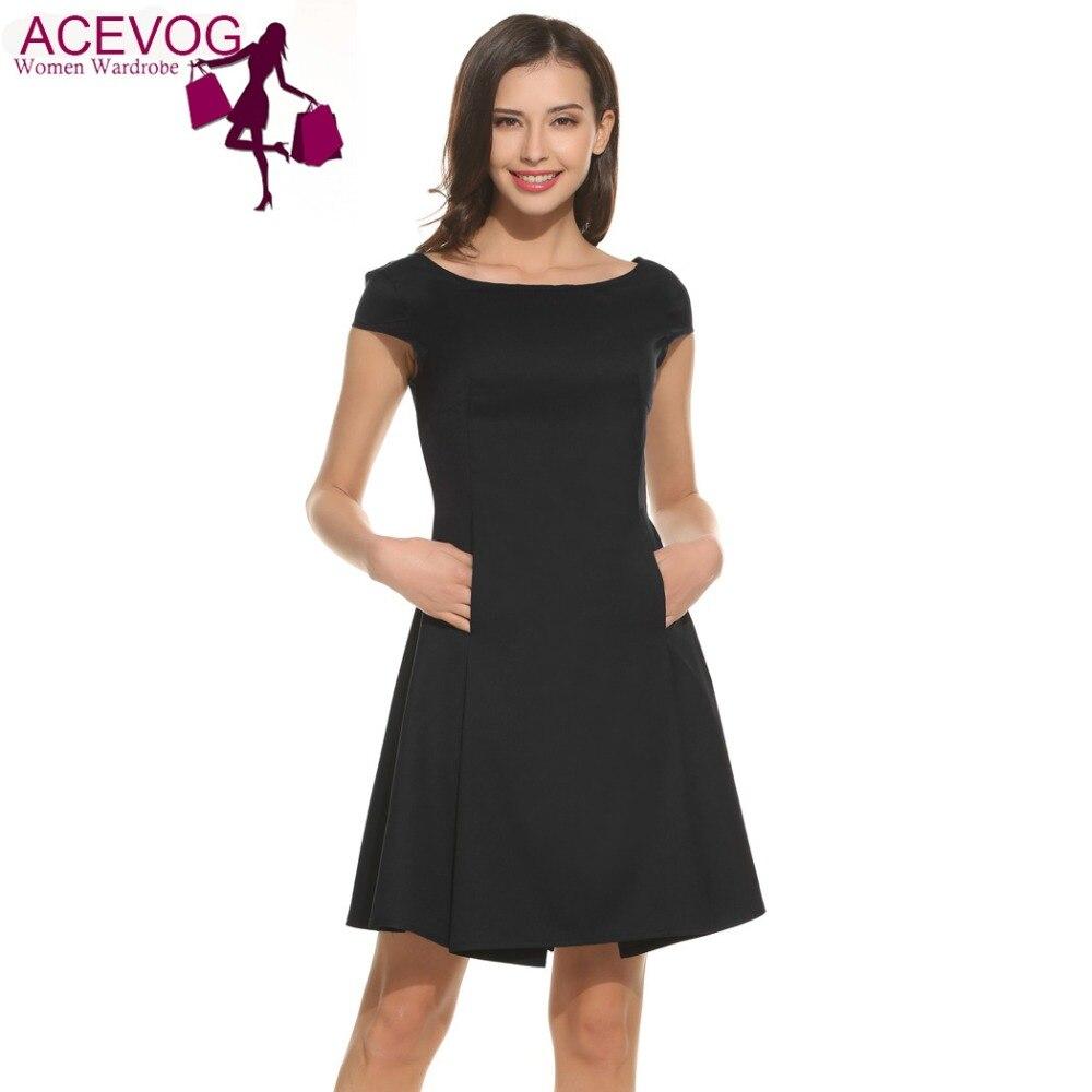 Acevog summer a line dress women short sleeve solid color for Solid color short sleeve dress shirts