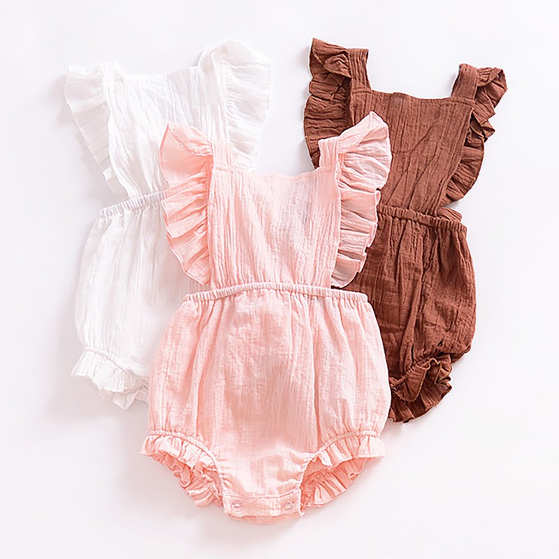 Hot Sale Baby Girl Sleeveless Hollow Out Bownot Climbing Suit Baby Girl Clothes Baby Summer Bodysuit