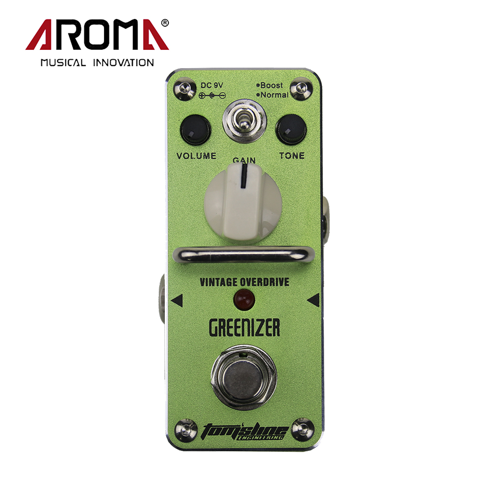 Aroma Tomsline AGR-3 Greenizer Vintage Overdriver Electric Mini Singer Guitar Effect Pedal True Bypass Guitarra Accessory aroma agr 3 greenizer vintage overdriver electric mini singer guitar effect pedal true bypass