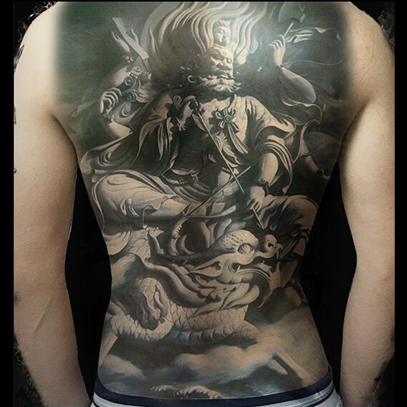 Large Fake Tattoo Water Transfer Temporary Tattoos Sticker 3D Black Body Art On Full Back Chest Halloween Big Size 18.9*13.4inch
