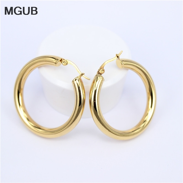 Mgub Gold Color Circle Creole Earrings Stainless Steel Round Wives Hoop Gifts For