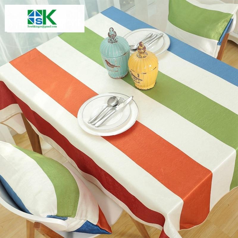 verano nuevo y moderno rayado colorido manto de mesa mesa de comedor tela mantel manteles