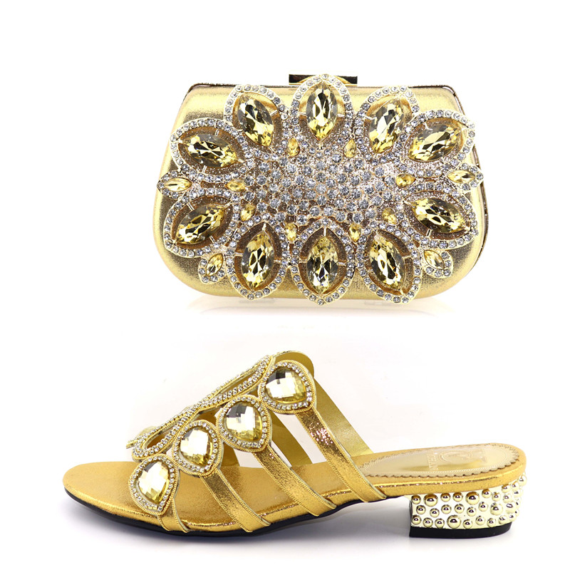 Bling gold rhinestones italian shoes and bag matching set low heel 1.5 inches size 37 to 42 shinning gold shoes bag SB8357-2