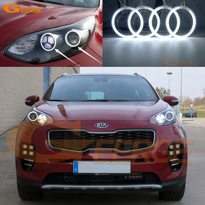 For Kia Sportage KX5 2016 2017 Excellent Angel Eyes Ultra bright headlight illumination ccfl angel eyes kit Halo Ring купить недорого в Москве