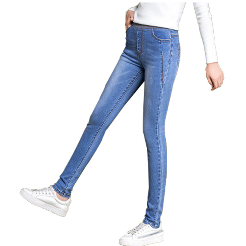 Jeans   For Women Black Blue   Jeans   High Waist   Jeans   Woman High Elastic Plus Size Leisure   Jeans   Female Washed Denim Skinny Pencil