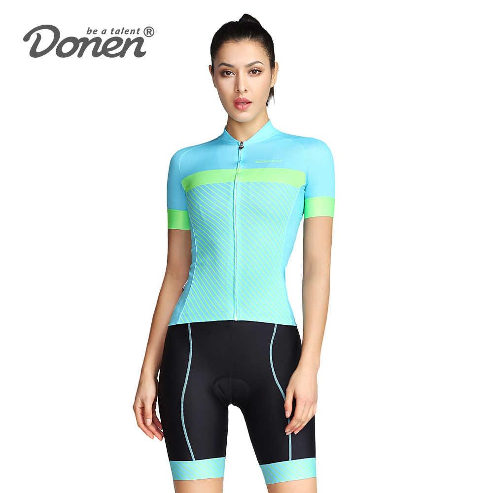 Donen קיץ לנשימה נשים 2 צבעים רכיבה על בגדים/MTB אופניים ללבוש Ciclismo Ropa/מירוץ בגדי רכיבה ג 'רזי סט