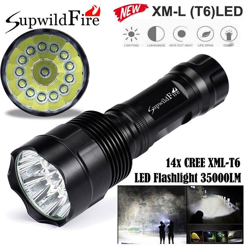 High Quality Super Bright 35000Lm 14x CREE XML T6 LED 5Mode 18650 Flashlight Torch Light Lamp фонарик cree xml t6 18650 super light