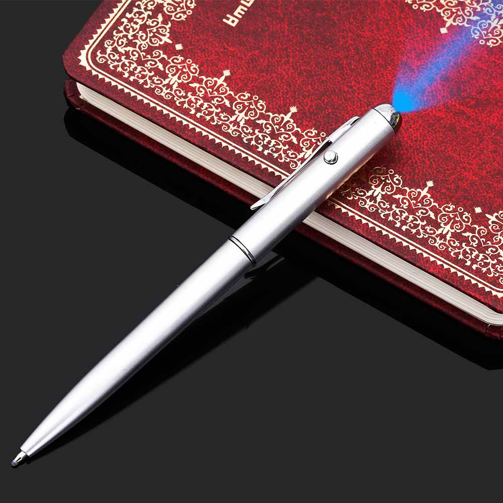 1PCs New Office School Supplies Metal Material Invisible Ink Pen With Uv Light Magic Secret Spy Ballpoint TOMTOSH