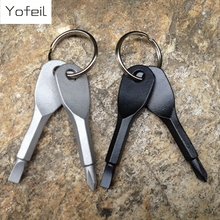 2Pcs Key Shape Precision Cast Steel Mini Slotted  Screwdrivers Keychain Pocket Repair Tool Edc Multifunction Screwdriver