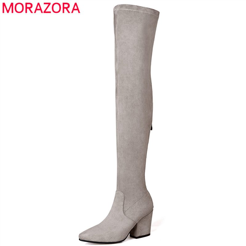 MORAZORA Plus Size 34-43 New High Quality Kid Suede Thigh High boots Women Shoes Over The Knee Stretch Spring Autumn botas 2018 winter thigh high boots women faux suede leather high heels over the knee botas mujer plus size shoes woman 34 43