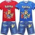 3-9 Años Los Niños y Niñas Ir Blusa de Manga Corta de Ropa Para Niños Set Pokemon Pokemon Camisetas y Pantalones Vaqueros muchacho de la Historieta Trajes
