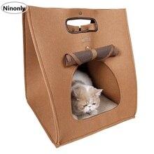 Кошкин дом Складной Собака Кровать Сумка кот спальный Улучшенный пакет Теплый кот Коврик Подушки Применение Four Seasons прекрасный дизайн