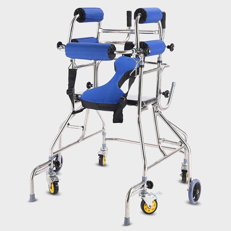 MHKBD 6 wheels Walking Aid Elder Walker Old People Walking Stick Walking Rehabilitation Device Anti backward