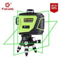 Фукуда бренд 12 линии 3D MW 93T 3G лазерный уровень 360 горизонтальный и вертикальный крест супер мощный зеленый лазер луч линии