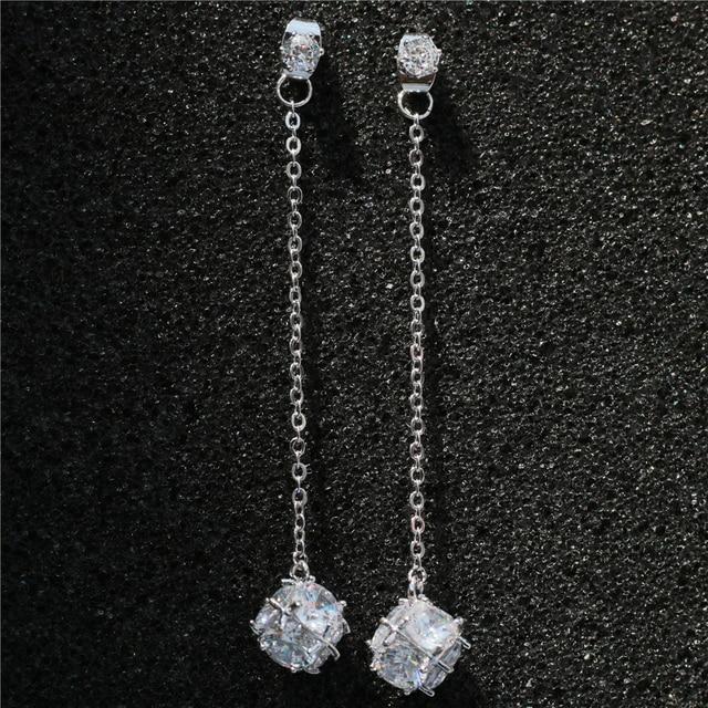 New Cubic Zirconia Drop Earring Charm Ball Dangle Earrings Long Chain Pierced Wedding Brincos