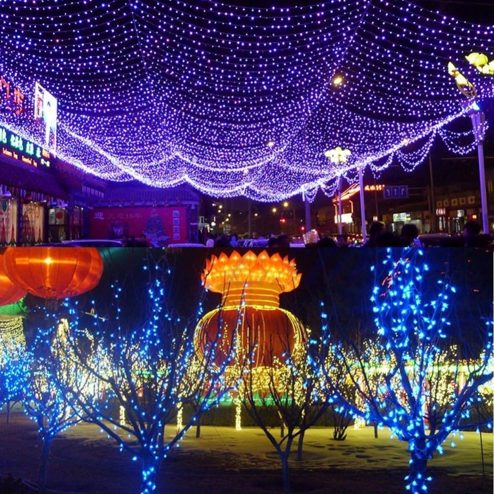 YAM Waterproof 9M 100 LED Outdoor Solar Powered String Light Garden Christmas Party Fairy Lamp solar powered 0 64w 10lm 200 led blue light garden christmas party string fairy light blue 20 5m