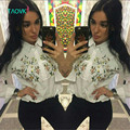 TAOVK new fashion Russia style Women's White tops Embroidered flower bat sleeve shirt  for Ladies