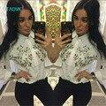 TAOVK nova moda estilo Rússia Branco tops Bordados de flores camisa de manga morcego das Mulheres para Senhoras