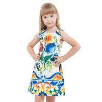 INS Girls A Word Skirts 2017 Winter And Winter Prints Children S Dresse Flower Vests Children
