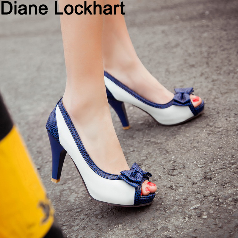 Summer Pumps Thick-Heel-Shoes Fish-Mouth Women's Bow-Knot Size-32-45 Hot Fine With 9CM