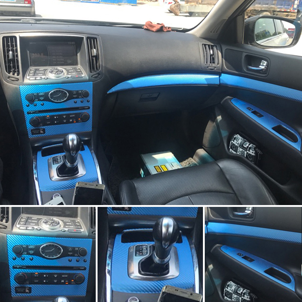 For  Infiniti G25 G37 2010-2016 Interior Central Control Panel Door Handle 5DCarbon Fiber Stickers Decals Car Styling Accessorie