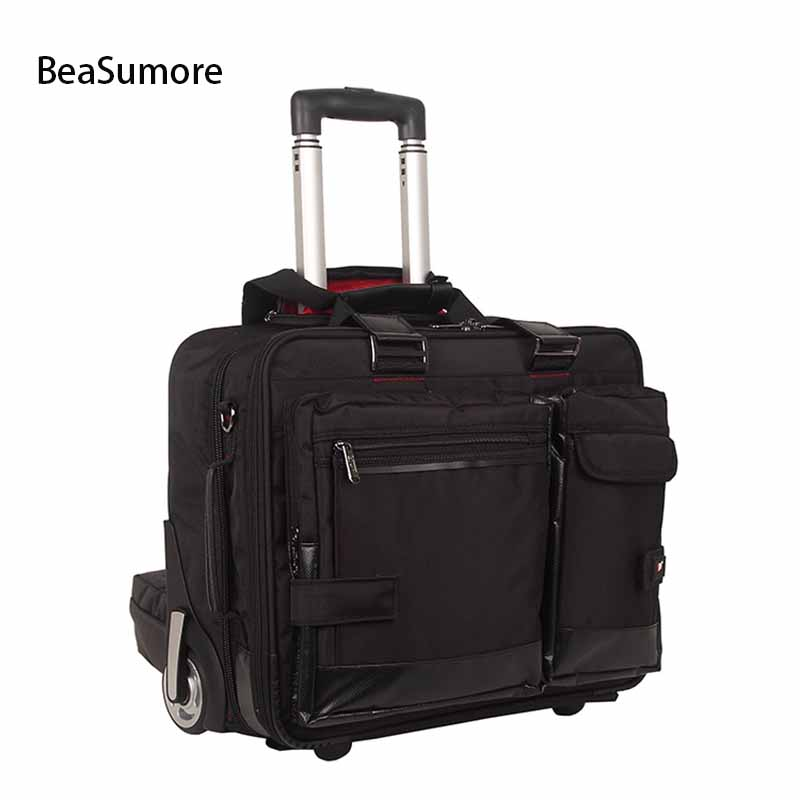 BeaSumore Business Men Rolling Luggage 17 Inch Hand Trolley Multifunction Carry On password Suitcase Wheels Laptop