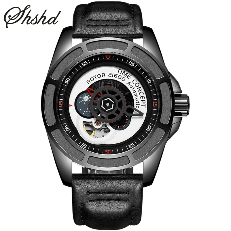 Creative Watches Men Mechanical Wristwatches Business Male Clock Men Black Army Military Watch Band Waterproof Montre