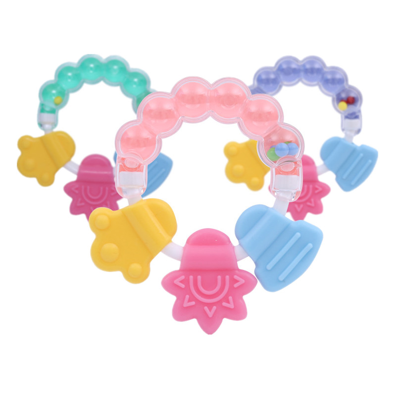 Safety Rattle & Teether For Baby Boys Girls Child Teether Beads Infant Baby Chewbeads Handle Style Pink Green Blue Available