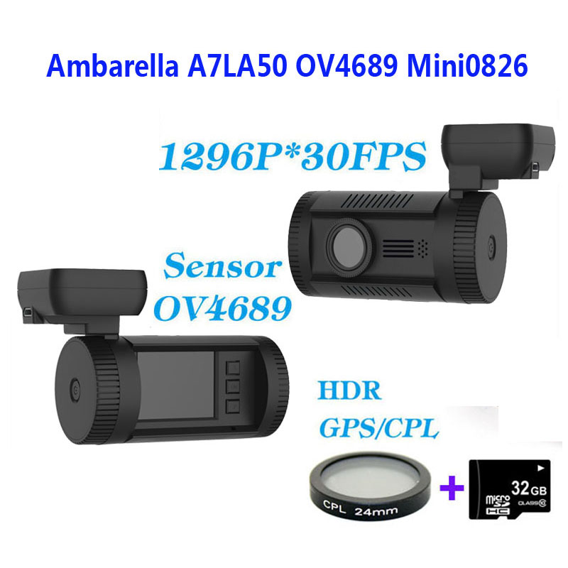 Free Shipping!!Original Mini 0826 Full HD 1296P Ambarella A7LA50 OV4689 Car DVR GPS Dash Cam+CPL Filter+32GB Card gps навигатор lexand sa5 hd
