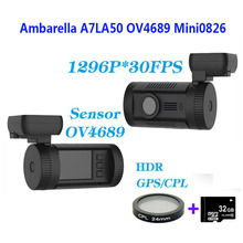 Free Shipping!!Original Mini 0826 Full HD 1296P Ambarella A7LA50 OV4689 Car DVR GPS Dash Cam+CPL Filter+32GB Card