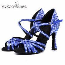 Evkoodance  Heel Height 9-9.5cm Size US 4-12 Dance Shoes Zapatos De Baile Blue/Black with rhinestone Professional Evkoo-562