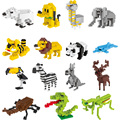YZ Animal Action Figures Model Toys Tiger Lion Panda Zebra Bear Dog Bird Educational 9+ DIY plastic Diamond Building Blocks