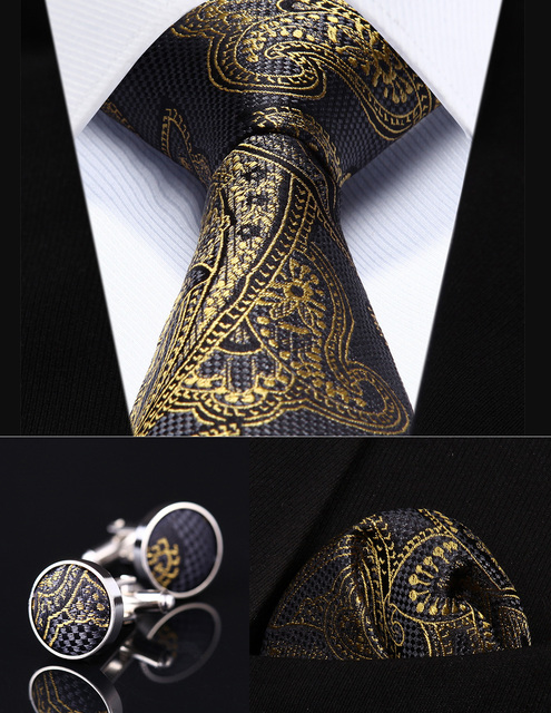 "TZP04Z8 Gold Gray Paisley 3.4"" Silk Men Tie Necktie Handkerchief Cufflinks Set Party Wedding Classic Pocket Square Tie"