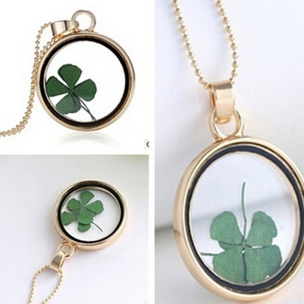 Green lucky shamrock necklace four leaf clover charm emerald green - Velishyfour Leaf Clover Real Flower Necklace Pressed Botanical Circle Gold Jewelry Pendant Lucky Charm China