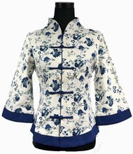 High Fashion Blue Vintage Women's Jacket Linen Coat Flower Chinese Tradition Tang Suit Oversize S M L XL XXL XXXL 4XL 5XL 2218