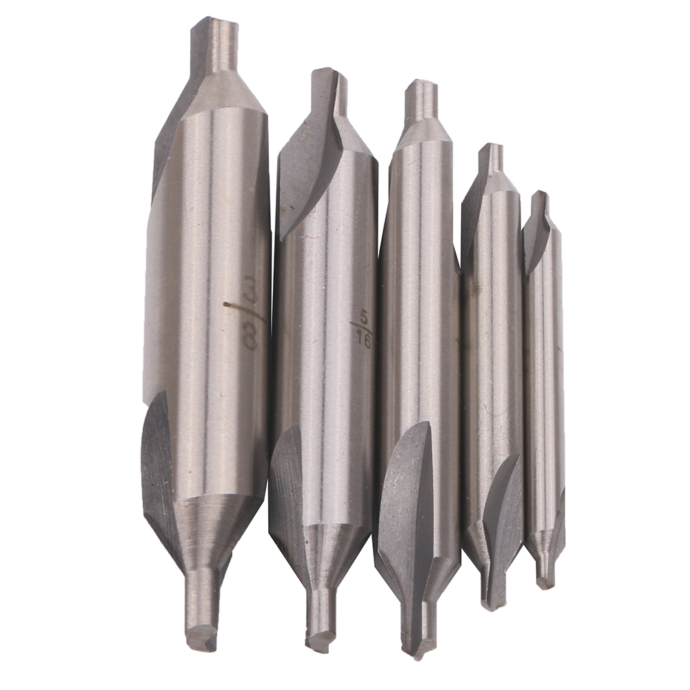 5pcs A-Type Double Ended HSS Center Drill Set Combined Spotting Countersink Bit Mill Lathe
