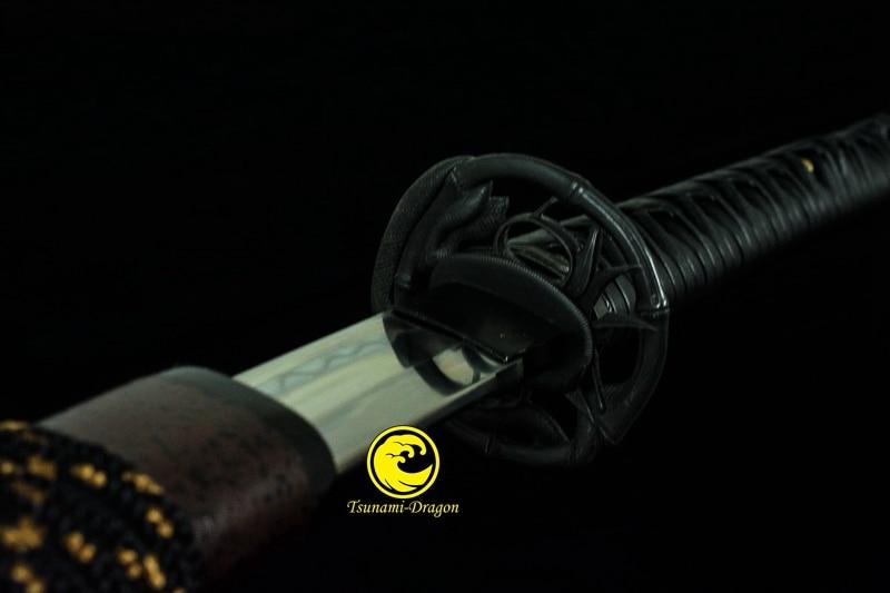 Clay Tempered Battle Ready Japanese Katana T10 Steel Blade Sword Full Tang Snake Tsuba Sharp