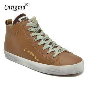 Image 2 - CANGMA של אישה מעצב נעלי ספורט נעליים מזדמנים עור אמיתי בנות אמצע למבוגרים נשים הנעלה נקבה חום מאמני