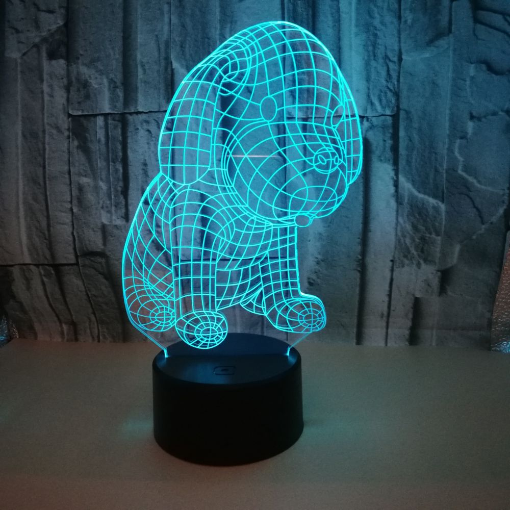 New Puppy 3d Small Lamp Colorful Led Gift  Led Night Light Child Birthday Gift 3d Light Fixtures Usb Led 3d Lamp