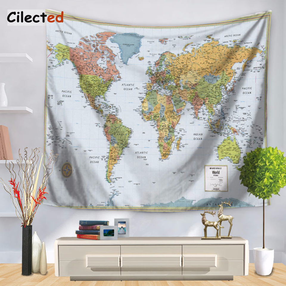 Cilected Retro World Map Tapestry Print Wall Hanging Home Decor Tablecloth Beach Towel Sitting Tablecloth Yoga Mat 2 Size