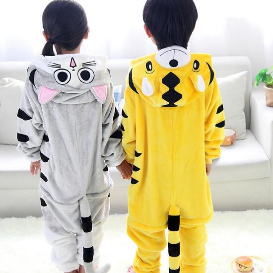 High Quality Wholesale Tiger Cat Flannel Hoodie Pajamas Costume Cosplay Animal Onesies Sleepwear For Boys Girls Kids